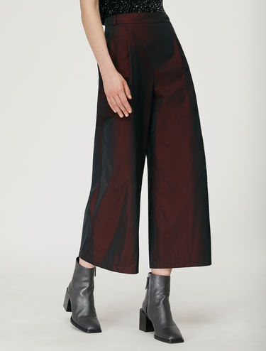 Wide-leg cropped taffeta trousers