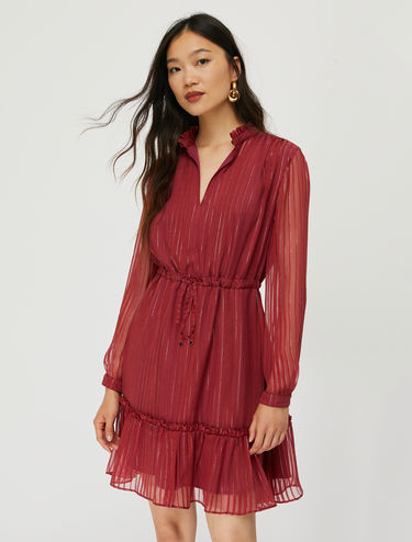 Tiered dress with satin and lamé stripes