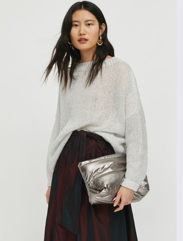 Metallic tricot jumper