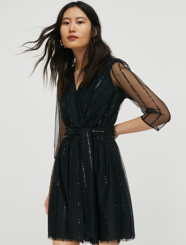 Tulle dress with sequin stripes