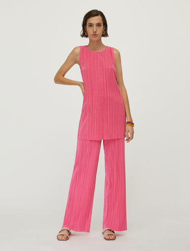 Pleated jersey top and trouser set
