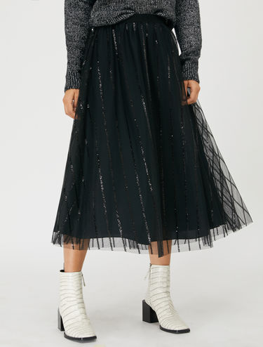 Tulle skirt with sequin stripes