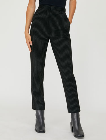 Pinstripe lamé trousers