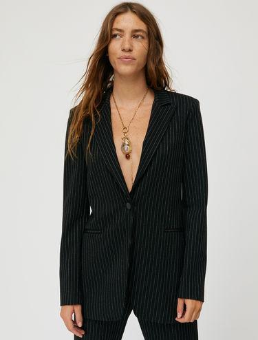 Pinstripe lamé blazer