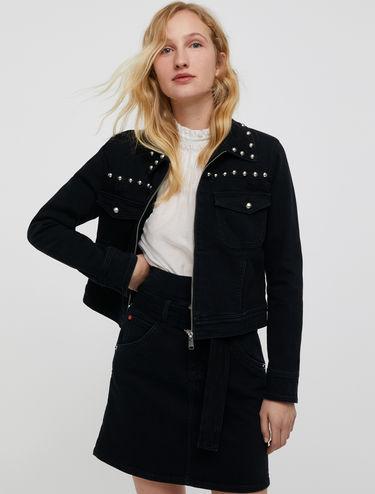 Zip-front denim jacket with studs