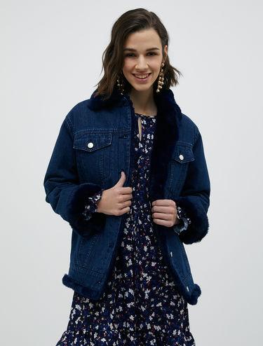 Denim and plush jacket