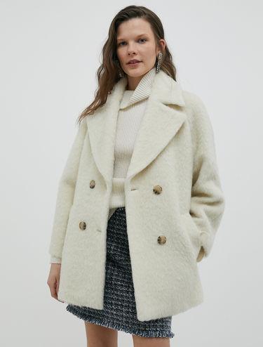 Caban coat in fuzzy beaver