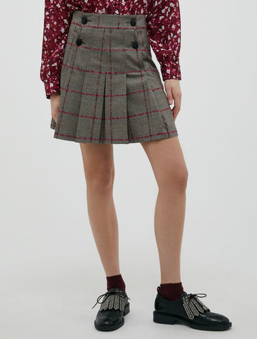 Pleated stretch flannel skirt