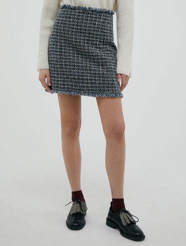 Basketweave lamé skirt