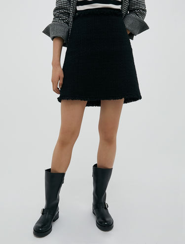Basketweave bouclé mini skirt