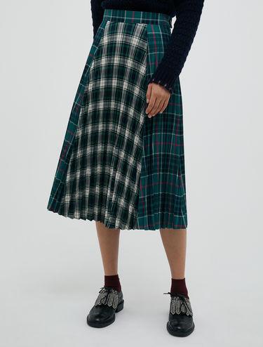 Patchwork tartan midi skirt
