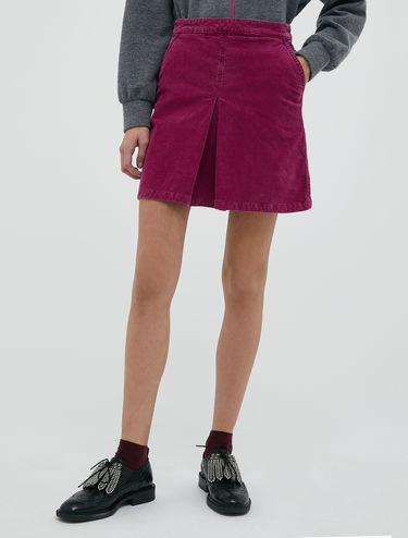 Striped velvet mini skirt