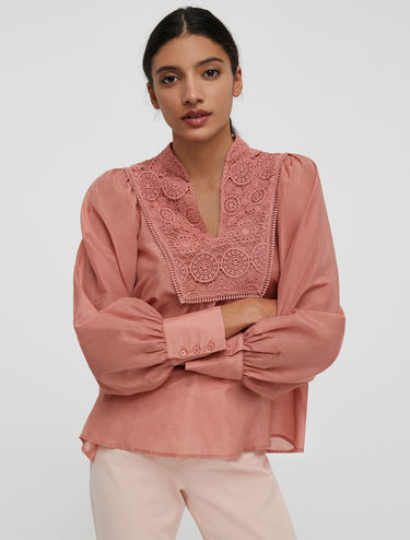 Puffed sleeve blouse in cotton and silk