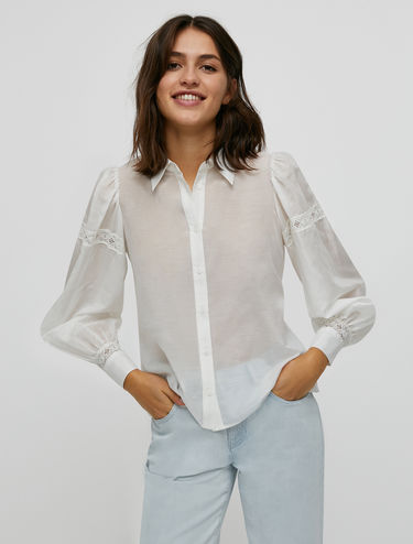 Cotton and silk shirt with lace inserts