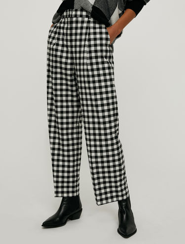 Gingham check wide-leg trousers