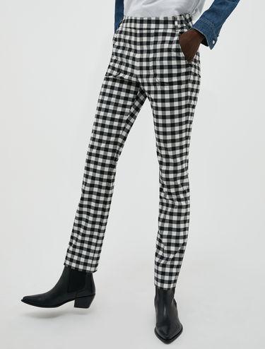 Pantalon slim à carreaux Vichy