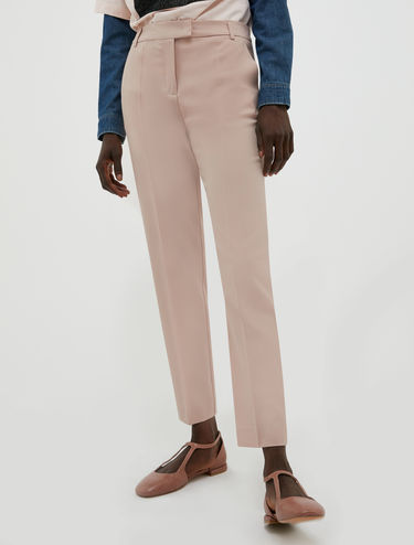 Wool canvas slim trousers