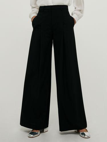 Pantalon palazzo en toile de laine bi-stretch