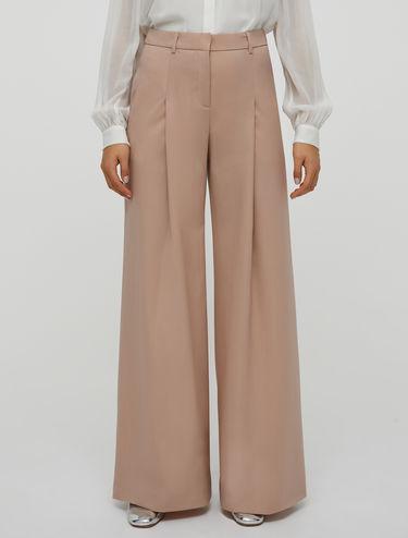 Wool canvas wide-leg trousers