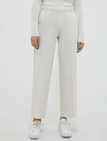Wide-leg bi-stretch trousers