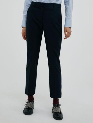 Pantalon cigarette en flanelle stretch