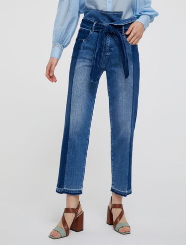 Jean patchwork coupe bootcut