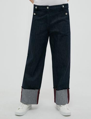 Jean large en denim lurex
