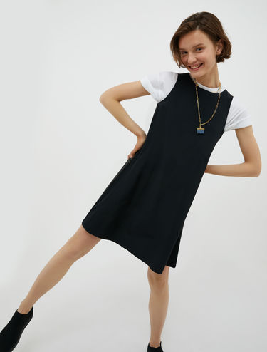 Trapeze dress with side bands