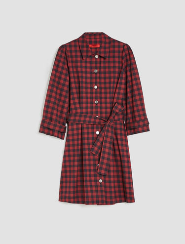Printed gabardine shirt dress