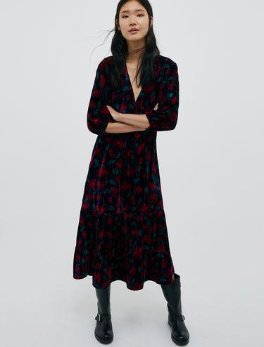 3D velvet midi dress