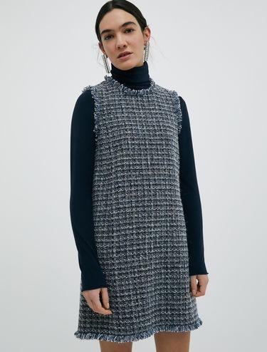 Basketweave dress with lamé
