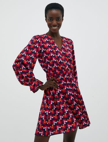 Jacquard crossover neckline dress