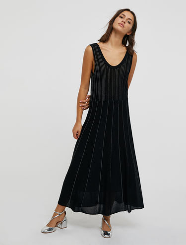 Knit dress with lamé stripes