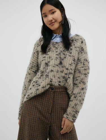 Pull di lana mohair fantasia tweed