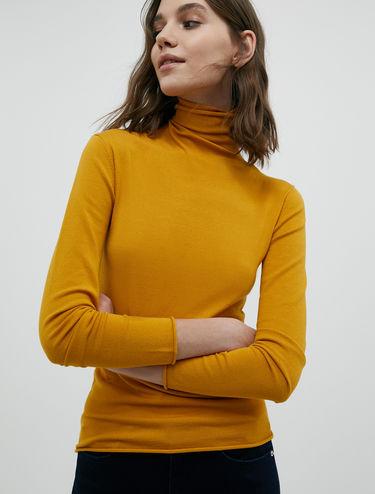 Jersey de cuello alto elástico
