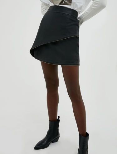 Nappa leather miniskirt with zip