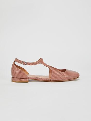 Lizard-print flat shoes