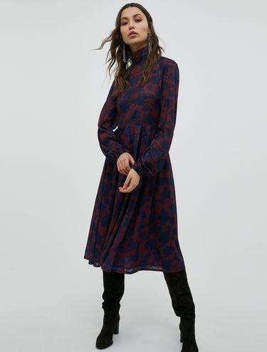 High-neck jersey midi dress