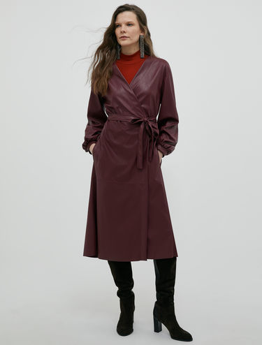 Wrap dress in coated jersey
