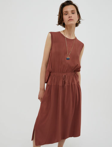 Twill and jersey dress