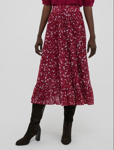 Pleated skirt in floral jersey