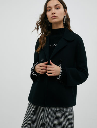 Pea coat in knitted jersey