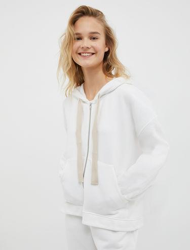 Fleece and canvas hoodie