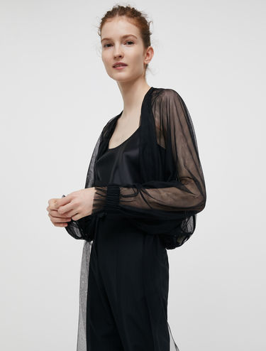 Tulle blouse with drawstring