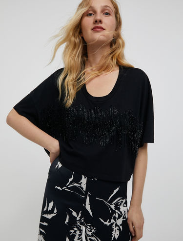 T-shirt avec franges de petites perles